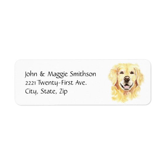 Golden Retriever Dog Pet Animal watercolor Return Address Label