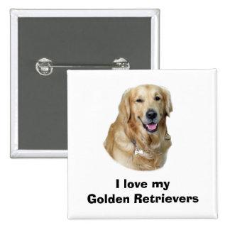 Golden Retriever dog photo portrait 2 Inch Square Button