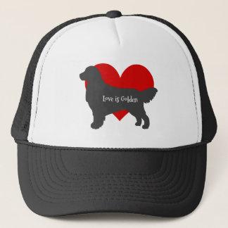 Golden Retriever Dog Silhouette Love Is Golden Trucker Hat