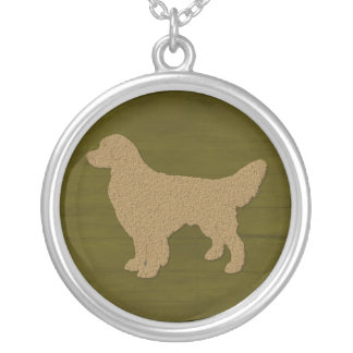 Golden Retriever Dog Silhouette On Olive Green Silver Plated Necklace