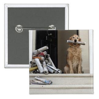 Golden retriever dog sitting at front door buttons