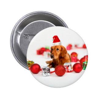 Golden Retriever Dog W Red Santa Hat Christmas 2 Inch Round Button