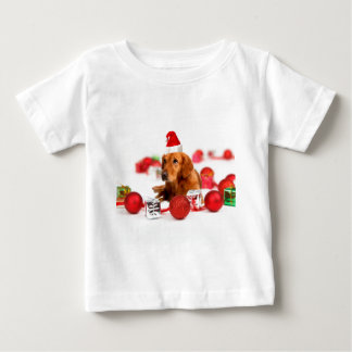 Golden Retriever Dog W Red Santa Hat Christmas Baby T-Shirt