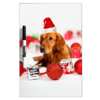 Golden Retriever Dog W Red Santa Hat Christmas Dry-Erase Whiteboard
