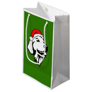 Golden Retriever Dog W Red Santa Hat Christmas Small Gift Bag