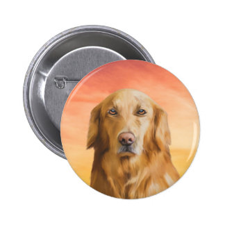 Golden Retriever Dog Water Color Art Oil Painting 2 Inch Round Button