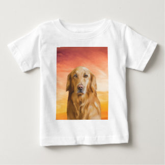 Golden Retriever Dog Water Color Art Oil Painting Baby T-Shirt