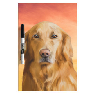 Golden Retriever Dog Water Color Art Oil Painting Dry-Erase Board