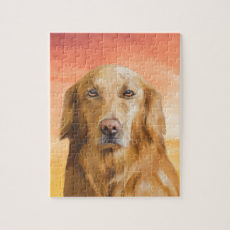 Golden Retriever Dog Water Color Art Oil Painting Jigsaw Puzzle
