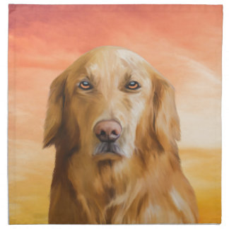 Golden Retriever Dog Water Color Art Oil Painting Printed Napkin