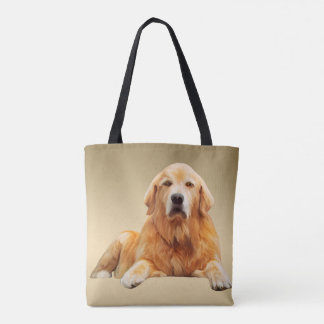 Golden Retriever Dog Water Color Art Painting Tote Bag