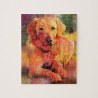 Golden Retriever Dog Watercolor Art Jigsaw Puzzle