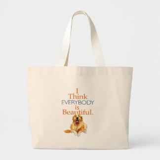 Golden Retriever dog watercolor everyone beautiful Large Tote Bag