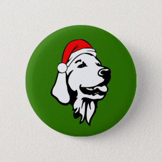 Golden Retriever_Dog with Christmas Santa Hat 2 Inch Round Button