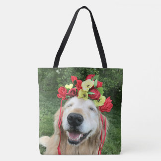 Golden Retriever Dog With Flower Crown Tote Bag