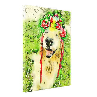 Golden Retriever Dog With Flower Crown Watercolor Canvas Print