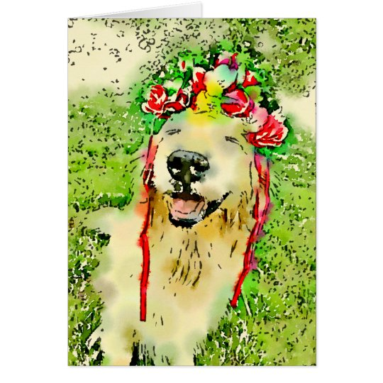 Golden Retriever Dog With Flower Crown Watercolor Card
