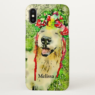 Golden Retriever Dog With Flower Crown Watercolor iPhone X Case