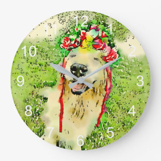 Golden Retriever Dog With Flower Crown Watercolor Large Clock