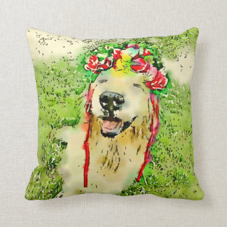 Golden Retriever Dog With Flower Crown Watercolor Throw Pillow