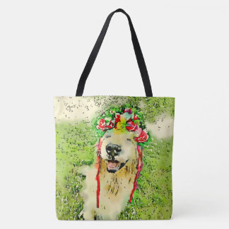 Golden Retriever Dog With Flower Crown Watercolor Tote Bag