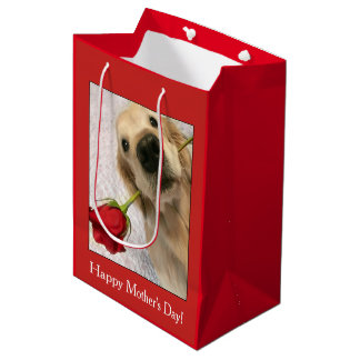 Golden Retriever Dog With Red Rose Mother's Day Medium Gift Bag