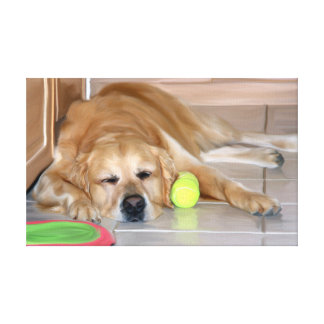 Golden Retriever Dog With Tennis Ball Oil Painting Canvas Print