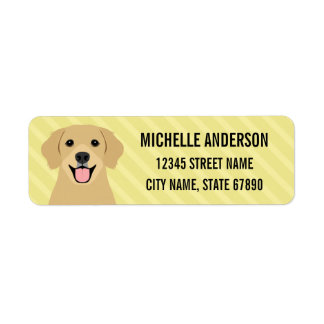 Golden Retriever Dog Yellow Return Address Label