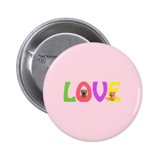 Golden Retriever Dogue De Borde Love 2 Inch Round Button