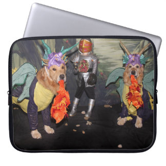 Golden Retriever Dragons Fighting a Knight Laptop Sleeve