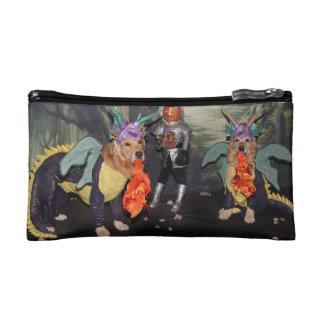Golden Retriever Dragons Fighting a Knight Makeup Bag