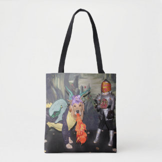 Golden Retriever Dragons Fighting a Knight Tote Bag