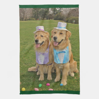 Golden Retriever Easter Egg Hunt Kitchen Towel