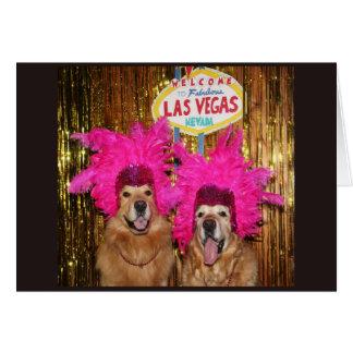 Golden Retriever Exciting Showgirls Birthday Card