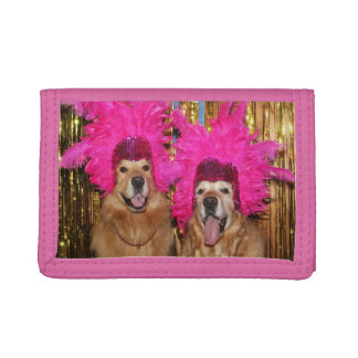 Golden Retriever Feathered Showgirls Trifold Wallet