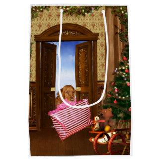 Golden retriever finishes Christmas shopping Medium Gift Bag
