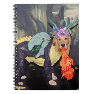 Golden Retriever Fire Breathing Dragon Notebook