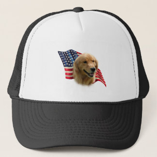 Golden Retriever Flag Trucker Hat