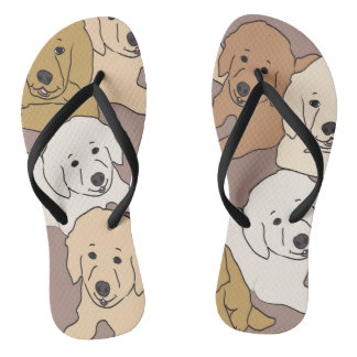 golden retriever flops flip flops