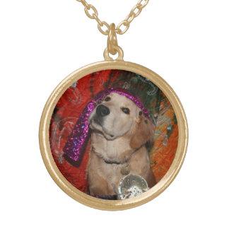 Golden Retriever Fortune Teller Gold Plated Necklace