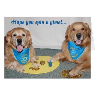 Golden Retriever Game of Dreidel Hanukkah Card