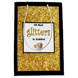 Golden Retriever Gift Bag, All Glitters is Golden Medium Gift Bag
