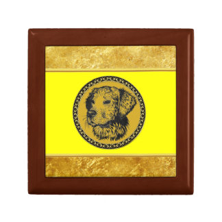 Golden retriever gold frame with gold foil texture gift box