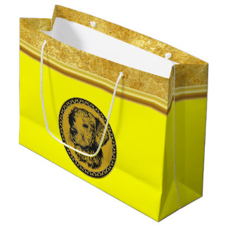 Golden retriever gold frame with gold foil texture large gift bag