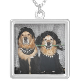 Golden Retriever Goth Style Silver Plated Necklace