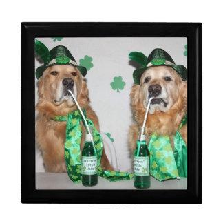 Golden Retriever Green Beer for St. Patrick's Day Gift Box
