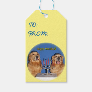 Golden Retriever Hanukkah Menorah Lighting Gift Tags