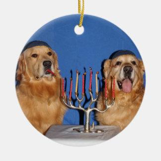 Golden Retriever Hanukkah Menorah Round Ceramic Ornament