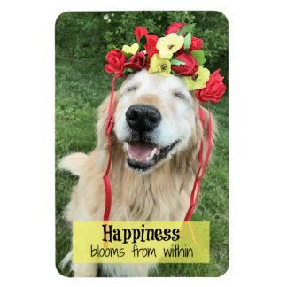 Golden Retriever Happiness Blooms From Within Magnet