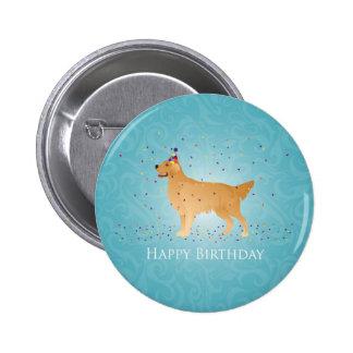 Golden Retriever Happy Birthday Design 2 Inch Round Button
